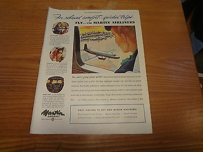 """1946 Martin Aircraft Vintage Magazine Ad """"For Relaxed comfort...quicker trips."""""""