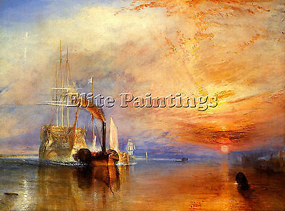 Turner Fighting Temeraire Berth Artist Painting Oil Canvas Repro Wall Art Deco