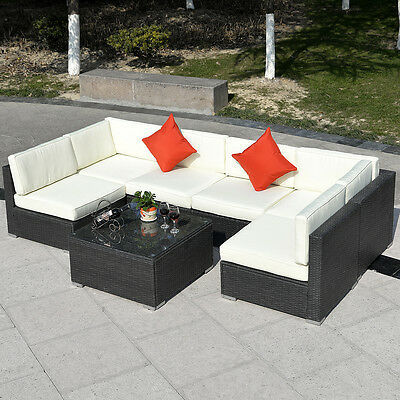 7PC Outdoor Patio Sectional Furniture PE Wicker Rattan Sofa Set Deck Couch Black