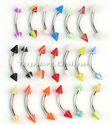 20pcs Stainless Steel Cone Barbell Curved Eyebrow Rings Bars Piercing Jewellery