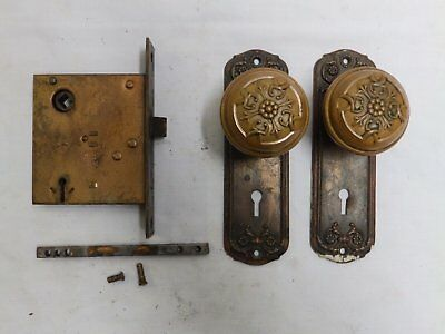 Antique Brass Door Knob Set Back Plates Mortise Decorative Victorian Vtg 4277-15