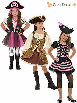 Girls Pirate Caribbean Princess Fancy Dress Party Costume Child Kids Book Week