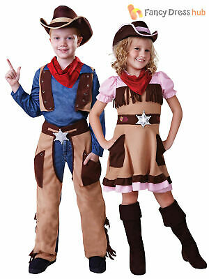 Kids Cowboy Cowgirl Boys Girls Fancy Dress Costume Wild Western Book Week Outfit