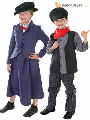 Kids Victorian Mary Nanny Chimney Sweep Fancy Dress Costume Book Day Poppins
