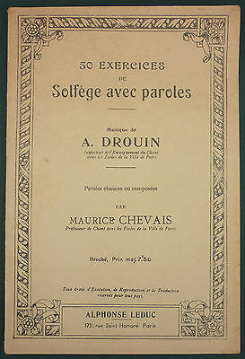 Drouin / Chevais - 50 Exercices De Solfege Avec Paroles - Rare - Partition Chant