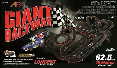AFX HO Giant Raceway Slot Car Race 62.5' Set W/ TPP Digital Lap Counter AFX21017