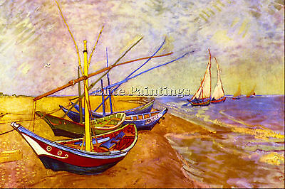 Boats Of Saintes Maries By Van Gogh Artist Painting Oil Canvas Repro Art Deco