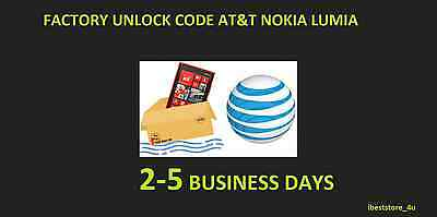unlock code for AT&T Nokia Lumia 520, 635, 820, 830, 900, 920 1520, 2520 Fast !!