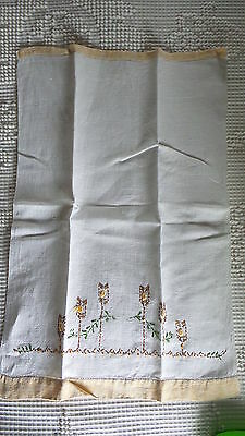 Antique LINEN EMBROIDERED GUEST TOWEL Gold Trim, Brown & Gold Flowers