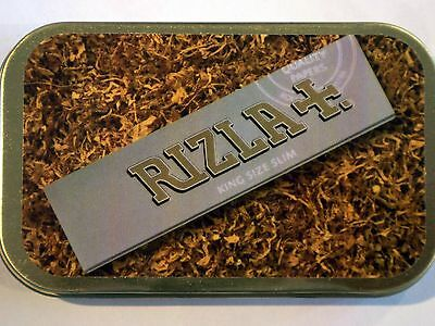 new slim 1oz hinged tobacco tin loose baccy silver rizla