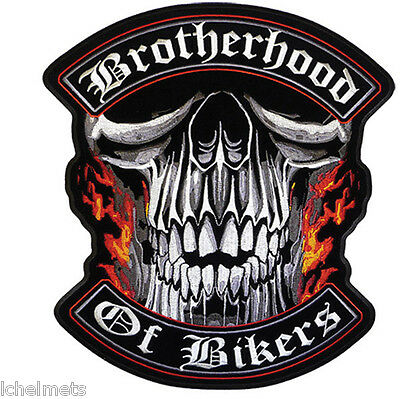 "Embroidered Motorcycle Patch Brotherhood of Bikers 4"" x 4"" Jacket Vest Patch"