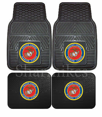 United States U.S. Marine Corp Floor Mats 2 & 4 pc Sets for Cars Trucks & SUV's