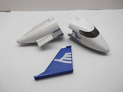 LEGO 3 piece plane lot blue front rear back tail fin fuselage aircraft 7893