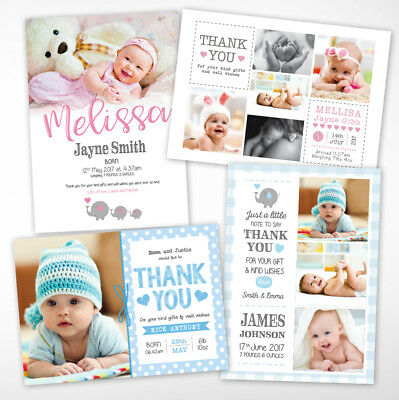 Baby Thank You Cards, Personalised, Birth Announcement, Girl or Boy