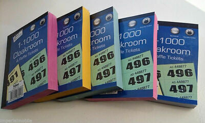 6 BOOKS OF CLOAKROOM AND RAFFLE TICKETS 1 -1000 Tombola Draw Numbered