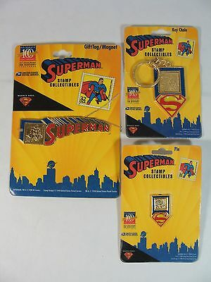 Post Office Usps Stamp Collectible Superman Pin Keychain Gift Tag/magnet Lot