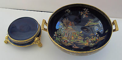 CARLTON WARE BOWL WITH STAND SUPERB TEMPLE PATTERN BLUE AND GOLD 1927