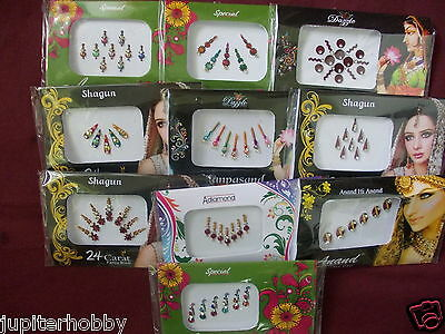 5  Different Packets- BINDIS WITH CRYSTALS ORNATE BINDI TATTO - FREE SHIPPING