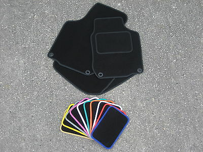 Car Mats in Black to fit Fiat 500 2013 on (Optional Coloured Trims) + Fixings