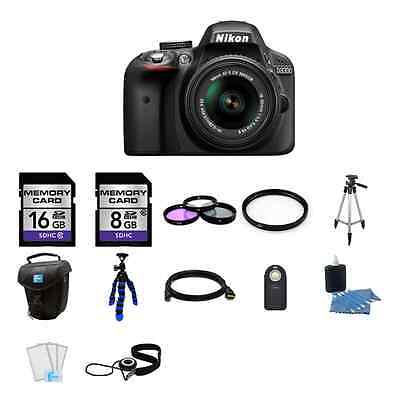Nikon D3300 DSLR Camera - Black w/18-55mm Lens 24GB Pro Kit