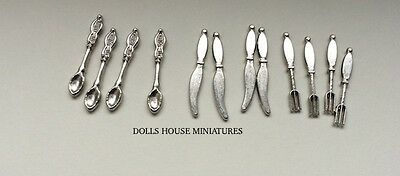 Cutlery Set Silver, Dolls House Miniatures, Kitchen Accessory, Dining, 1.12th