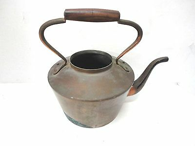 Vintage Copper & Brass Tea Kettle Pot with Wooden Handle - Bongusto Italy