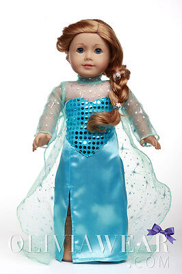 American girl doll clothes handmade dress FROZEN ELSA SPARKLE Fits 18 inch Dolls