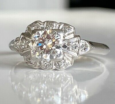 Classic Edwardian Vintage .77 Carat Diamond Engagement Ring Platinum