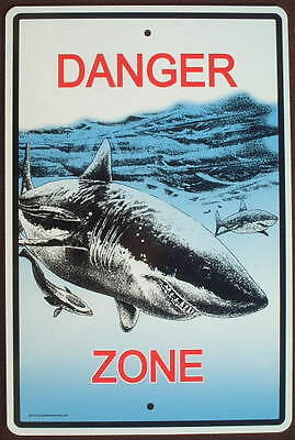 SHARK DANGER ZONE SIGN ALUMINUM decor painting art sharks signs home novelty