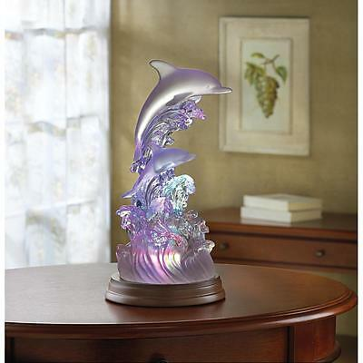 Aquatic Ocean Waves Dolphin Figure Abstract Light Up Color Changing Model Statue