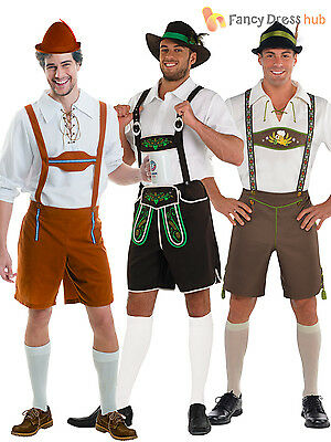 Mens Oktoberfest Bavarian Costumes German Lederhosen Fancy Dress Outfit Beer