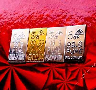 ACB Gold Silver Platinum Palladium 5GRAIN BULLION MINTED Bars  (4 bars) +