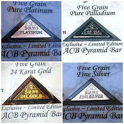 ACB Pyramid Gold, Silver Platinum Palladium 5GRAIN Combo BULLION FOUR Bars COA +