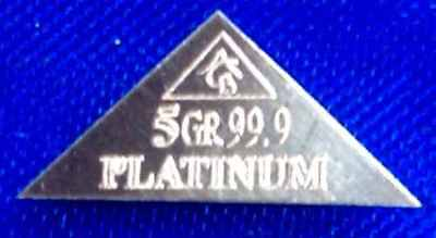 ACB Platinum PT BULLION 5Grain PYRAMID MINTED BAR 9.99 FINE