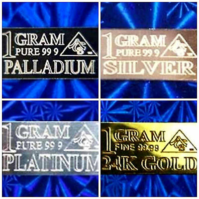 ACB Gold Silver Palladium Platinum 1GRAM Bullion Minted Bars (4 bars) +