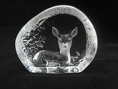 Mats Jonasson Crystal Deer Paperweight With Chip & Scratches