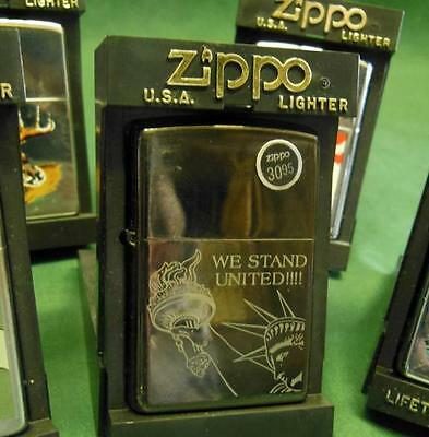 We Stand United Liberty Zippo Lighter + Case New Windproof Cigarette Cigar