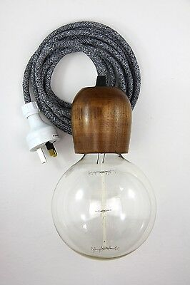 wooden light pendant cloth cord hanging lamp fabric wire lampholder wood 3m med
