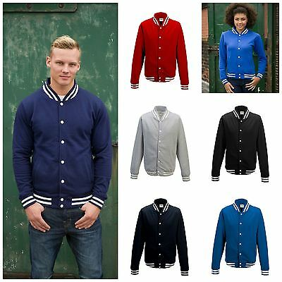 AWDis Mens College Jacket Mans Baseball Style Sweat Jacket Top Contrast Colours