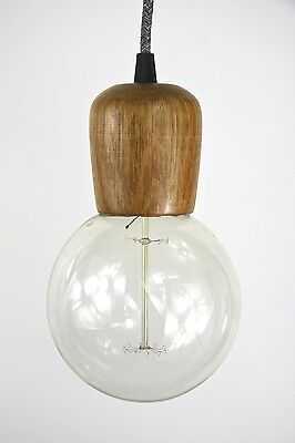 wooden light pendant 3m cloth cord hanging lamp fabric wire lampholder wood lite