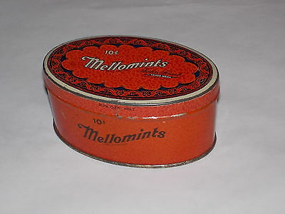 """Vintage MELLOMINTS Advertising Tin by Brandle & Smith Co., 4"""" long - Very Nice"""