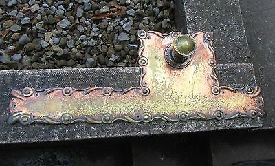 Antique Door Knob Finger Plate Push Door Handle Hammered Coppered Brass Vintage