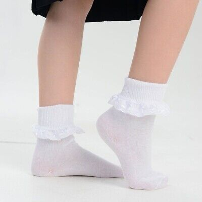 New 3 Pairs Girls/Baby/Kids White Ankle Socks Lace Frilly Top School Cotton