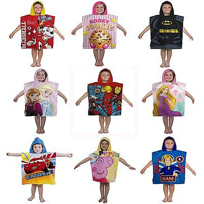 Official Character Kids Hooded Ponchos Disney Paw Patrol, Spiderman, Olaf & More