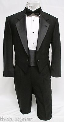 41 R Karl Lagerfeld Mens Black Full Dress Tuxedo Tailcoat Tux Tails Coat Wedding