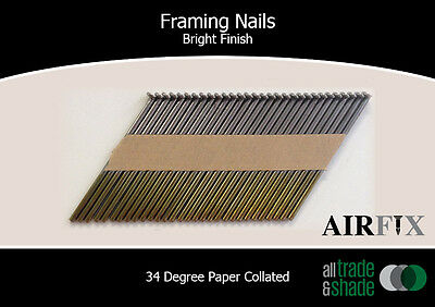 Framing Nails – 34 Degree - Bright - Smooth Blunt - Box: 3000 - Size: 75 x3.05mm