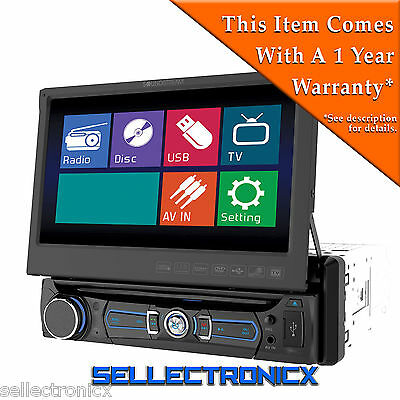 """Soundstream VR-701T 7"""" LCD Display 1-Din Car Stereo DVD Player w/Analog TV Tuner"""