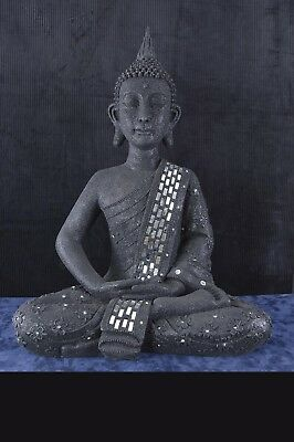 Large 25 inch Sitting Speckled Black Buddha Statue And Mirror Sash