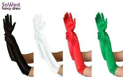 Ladies Fancy Dress Prom Wedding Burlesque Opera Black Red Green White Gloves