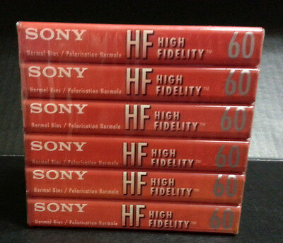 6 pack Sony HF High  Fidelity Normal Bias Audio Cassettes 60 min Sealed